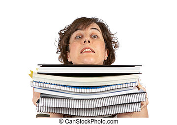 Busy young student woman carrying stacked files over a white...