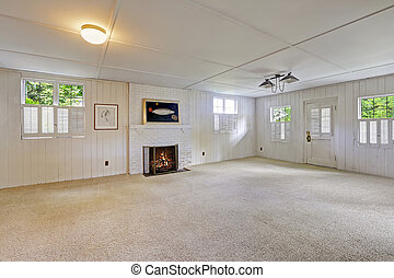 Empty basement room with fireplace