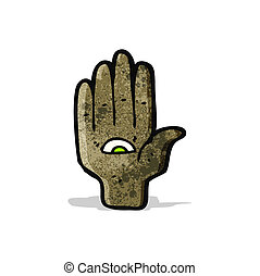 all seeing eye hand cartoon