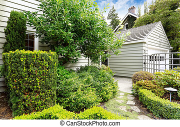 Front yard green garden with walkway - Small front yard...