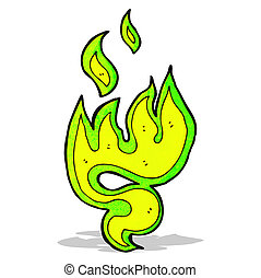 green fire symbol cartoon