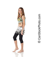 Young belly dancing girl - Young Caucasian belly dancing...