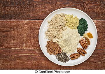 dry superfood smoothie ingredients - dry ingredients of...