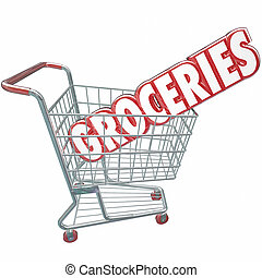 Groceries Shopping Cart Word Store Food Products - Groceries...