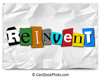 Reinvent Word Cut Out Letters Redo Refresh Rethink -...
