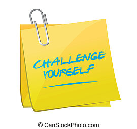 challenge yourself post message illustration design over a...