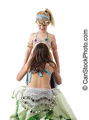 joven, niñas, vientre, dos, bailando