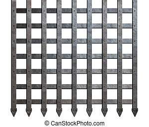 Medieval metal bars isolated - Grunge dark brown wood...