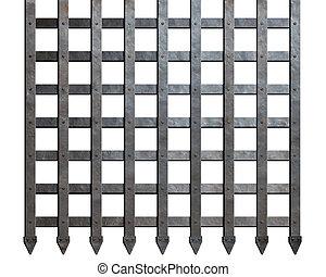 medieval, metal, barras, aislado