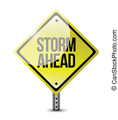 storm ahead street sign illustration design