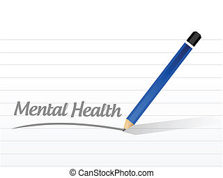 mental health message illustration design over a white...