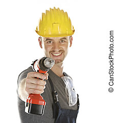 handyman ready to work - isolated friendly handyman with red...