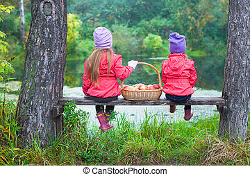 Rear view of two little sisters on bench with basket of red apples near the lake