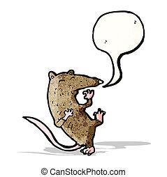 caricatura, rato, tendo, Coração, ataque