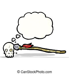 spear in skull cartoon