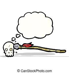 spear in skull cartoon