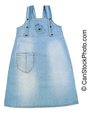 pinafore - woman blue pinafore isolated on white background