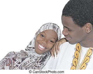 Young Afro couple, isolated - Young Afro couple showing love...