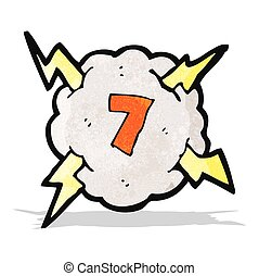 cartoon thunder cloud with number 7