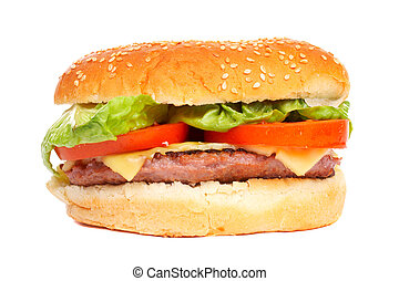 Cheese burger with lettuce and tomato,over a white...