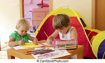 children sketching with pencils - little children sketching...