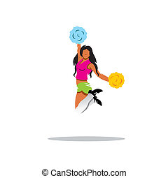 Cheerleading vector sign - Cheerleader girl jumping isolated...