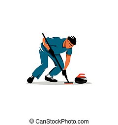 Curling game vector sign - curlers cleans the ice in front...