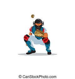 Baseball player vector sign - catcher on receiving the ball...