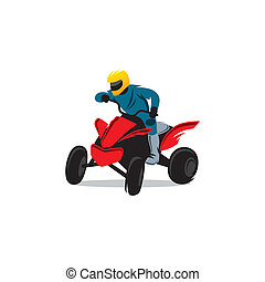 ATV vector sign - Sportsman ATV in a steep turn isolated on...