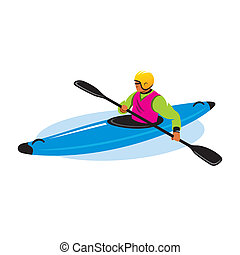 Man in canoe vector sign - Man in helmet and lifejacket with...