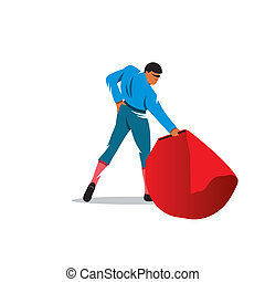 Bullfighter vector sign - bullfighter with a red cape...