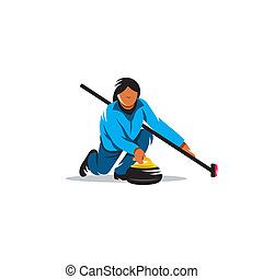 The game of curling vector sign - Girl curling starts...