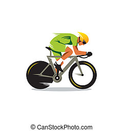 Bike track racing vector sign - cyclist in green uniforms...