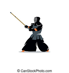 Kendo vector sign - Kendo fighter. Japanese martial art of...