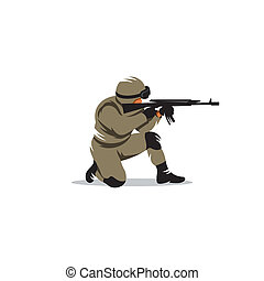 Tactical shooting vector sign - Armed military preparing to...