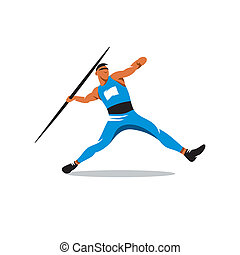 Javelin Thrower vector sign - Athlete throwing javelin...