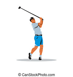 Golfer vector sign - Golfer after hitting the ball isolated...