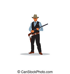 Sheriff vector sign - Wild west. Cartoon sheriff with...