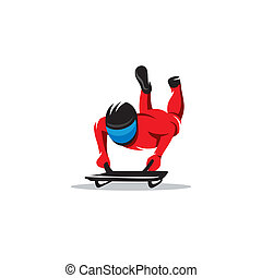 Winter sceleton vector sign - Skeleton athlete with sledges...