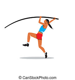Pole vaulting vector sign - female gymnast jumps off a sixth...