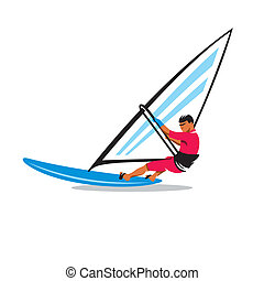 Windsurfing vector sign - Man windsurfing in splashes of...