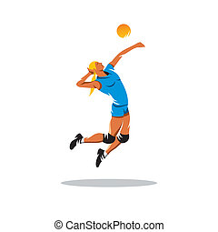 Volleyball player vector sign - female volleyball player...