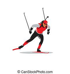 Biathlete vector sign - biathlon skier running distance...