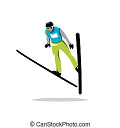 Jumping skier vector sign - Skier in the form of blue-green...
