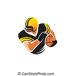 American football vector sign - Football player wearing a...