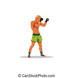 Thai boxing vector sign - Muay Thai athlete standing in a...