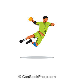 Handball vector sign - handball player jumping isolated on...