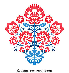 Polish Folk art pattern with flower - Decorative traditional...