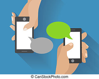 Hand holding black smartphone with blank speech bubbles for...