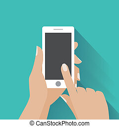 Hand holding smartphone with blank screen - Hand holing...